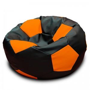 Кресло-мешок Мяч Черно-Оранжевый (Экокожа)