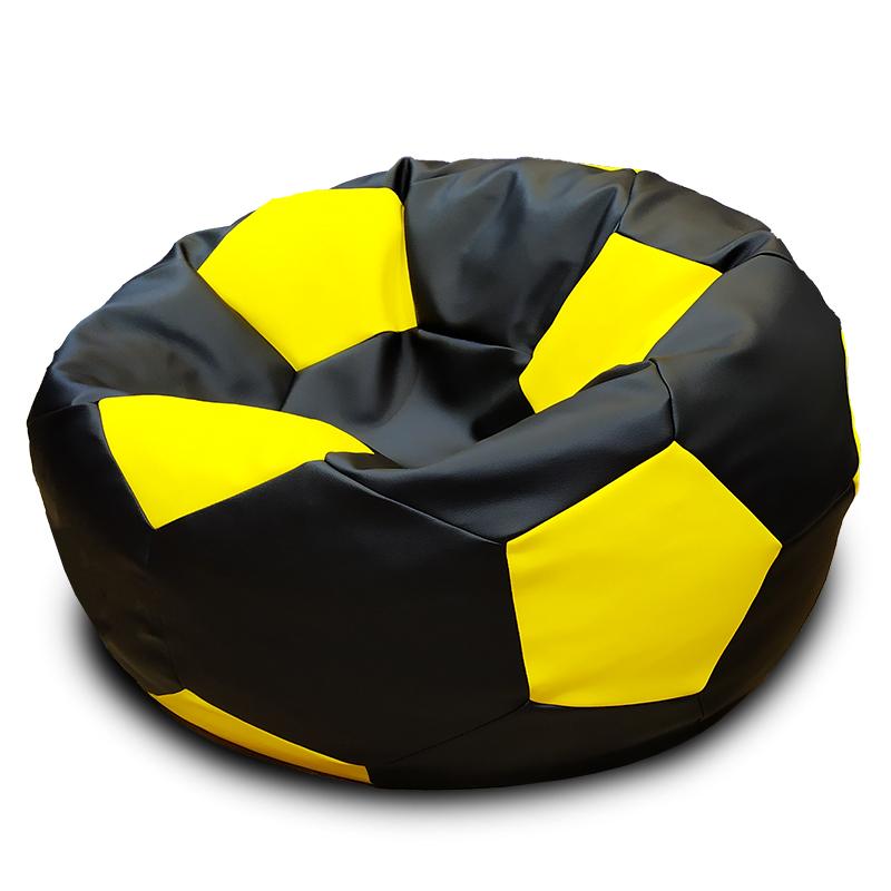 Кресло-мешок Мяч Черно-желтый (Экокожа)