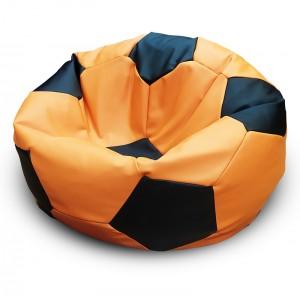 Кресло-мешок Мяч Оранжево-черный Экокожа