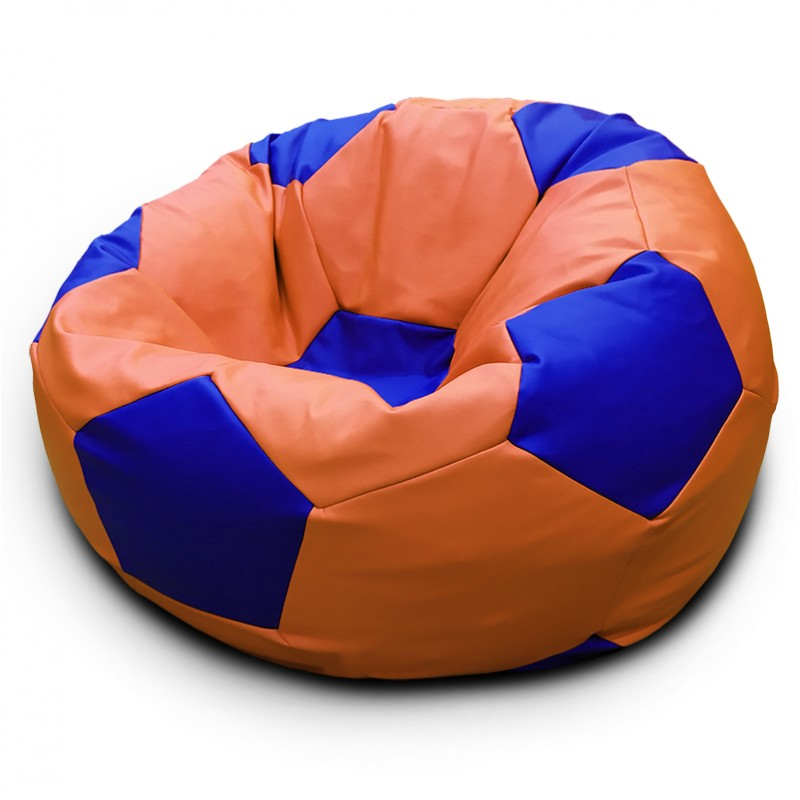 Кресло-мешок Мяч Оранжево-синий (Экокожа)