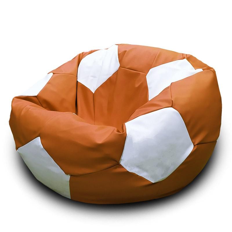 Кресло-мешок Мяч Оранжево-белый (Экокожа)