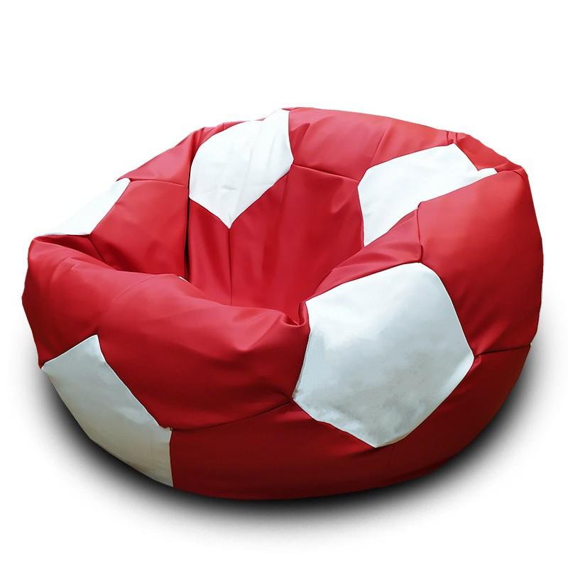 Кресло-мешок Мяч Красно-белый (Экокожа)