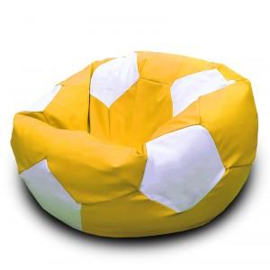 Кресло-мешок Мяч Желто-белый (Экокожа)