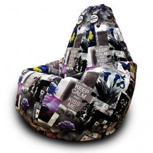 Кресло-мешок груша Бабочки (Велюр)