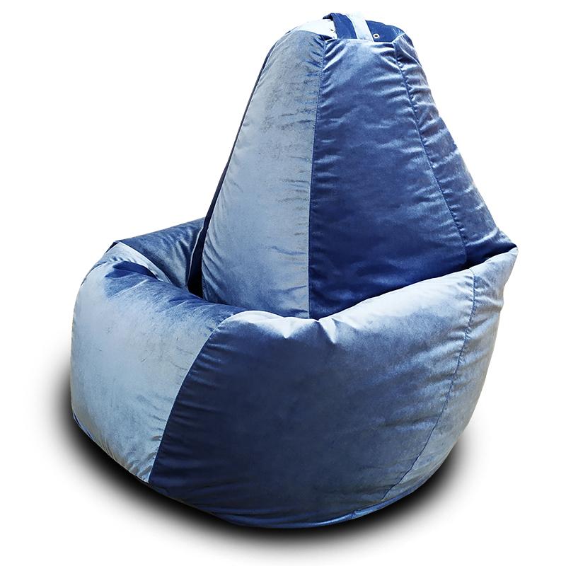 Кресло-мешок груша Серо-голубой XXL (Велюр)