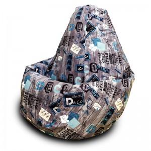 Кресло-мешок груша  Дисижн Грей (Велюр)