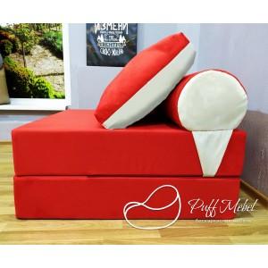 Бескаркасный диван 100х100х40см, цвет красный+белый, материал Велюр, Sofa Fom , Puffmebel