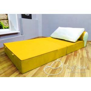 Бескаркасный диван 100х100х40см, цвет жёлтый, материал Велюр, Sofa Fom , Puffmebel