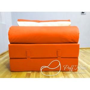 Бескаркасный диван 100х100х40см, цвет рыжий, материал Велюр, Sofa Fom , Puffmebel