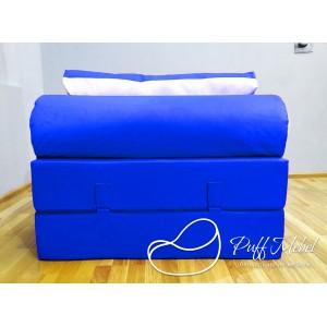 Бескаркасный диван 100х100х40см, цвет синий, материал Велюр, Sofa Fom , Puffmebel