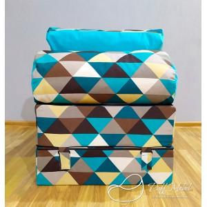 Бескаркасный диван 100х70х40см, цвет ромб + голубой , материал Жаккард + Велюр, Sofa Roll , Puffmebel