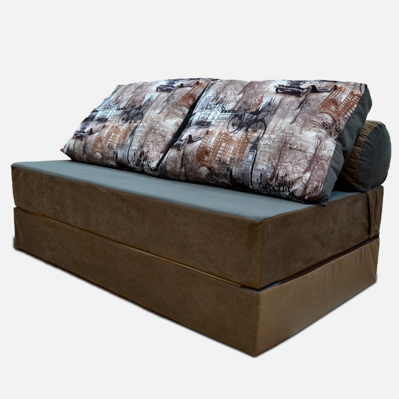 Бескаркасный Диван 140х90х40, цвет коричневый, материал Велюр, Sofa Roll Long, Puffmebel