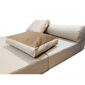 Бескаркасный Диван 140х90х40, цвет молочный, материал Рогожка, Sofa Roll Long, Puffmebel