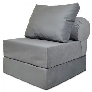 Бескаркасный диван 80х90х40см, цвет серый, материал Велюр, Sofa Roll , Puffmebel