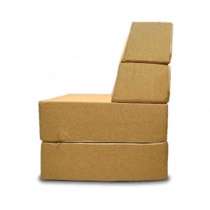 Бескаркасный диван 100х80х40 цвет Горчично-песочный  Sofa Fom DKC Puffmebel Диван-трансформер  (Рогожка)