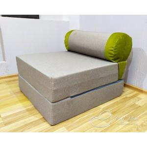 Диван-трансформер Sofa Roll Серо-зеленый (Рогожка + Велюр)