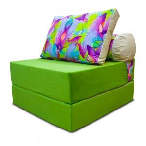 Бескаркасный Диван 80х90х40, цвет яблоко, материал Велюр, Sofa Roll, Puffmebel