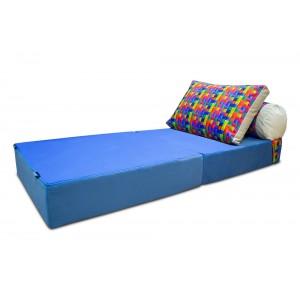 Бескаркасный Диван 80х90х40, цвет голубой, материал Велюр, Sofa Roll, Puffmebel
