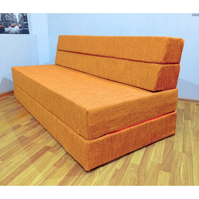 Бескаркасный диван 180х90х40, цвет рыжий, материал Рогожка, DKC, Puffmebel
