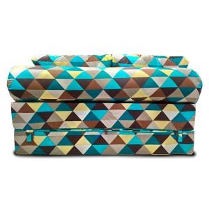 Бескаркасный Диван 140х90х40, цвет ромб, материал Жаккард, Sofa Roll Long, Puffmebel
