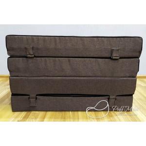 Бескаркасный диван 100х100х40, цвет коричневый, материал Рогожка,  DKC  Puffmebel