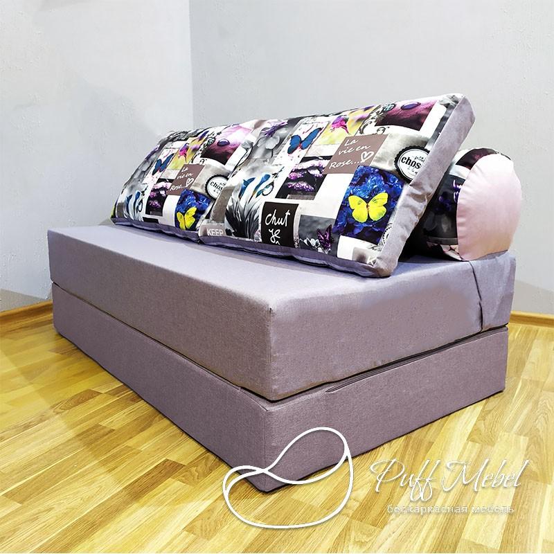 Диван трансформер Sofa Roll Бледно-фиолетовый + Бабочки велюр