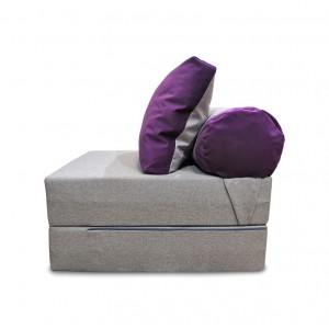Диван-трансформер Sofa Roll Серая рогожка + фиолетовый велюр