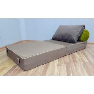 Бескаркасный диван 80х90х40см, цвет бежево-коричневый + салатовый, материал Велюр, Sofa Roll , Puffmebel