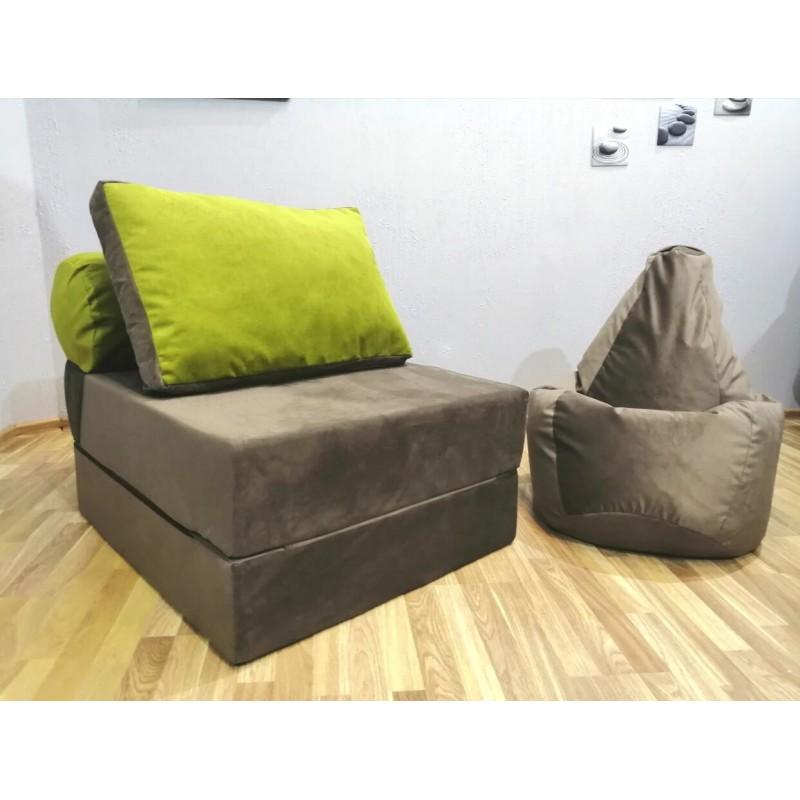 Диван-трансформер Sofa Roll  коричнево-салатовый велюр