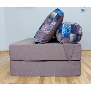 Бескаркасный Диван 140х90х40, цвет бледно-лиловый, материал Велюр + Рогожка, Sofa Roll Long, Puffmebel