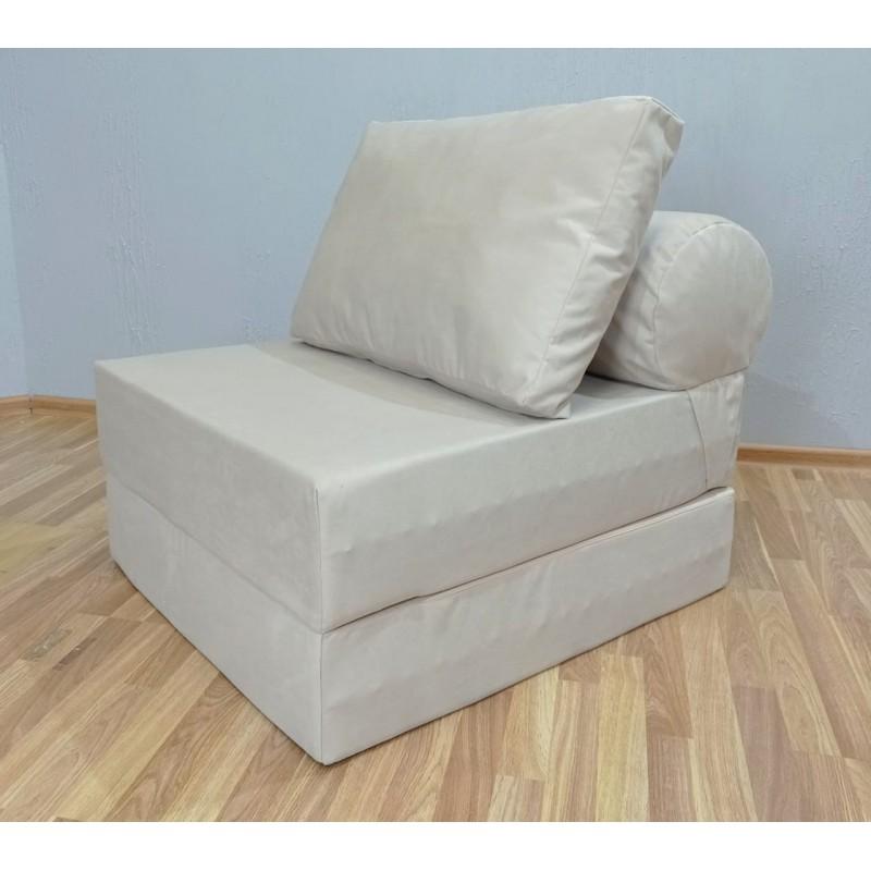 Бескаркасный диван 80х90х40см, цвет молочный, материал Велюр, Sofa Roll , Puffmebel