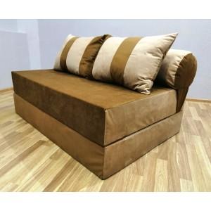 Диван-трансформер Sofa Roll Long  Бежево-коричневый велюр