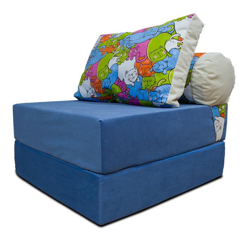 Бескаркасный диван 80х90х40см, цвет голубой+котики, материал Велюр, Sofa Roll , Puffmebel
