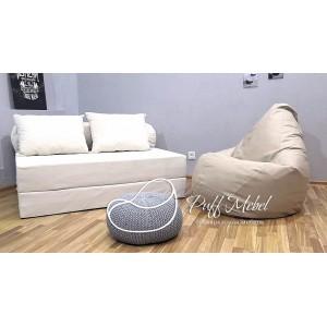 Диван-трансформер Sofa Roll Long  Белый велюр