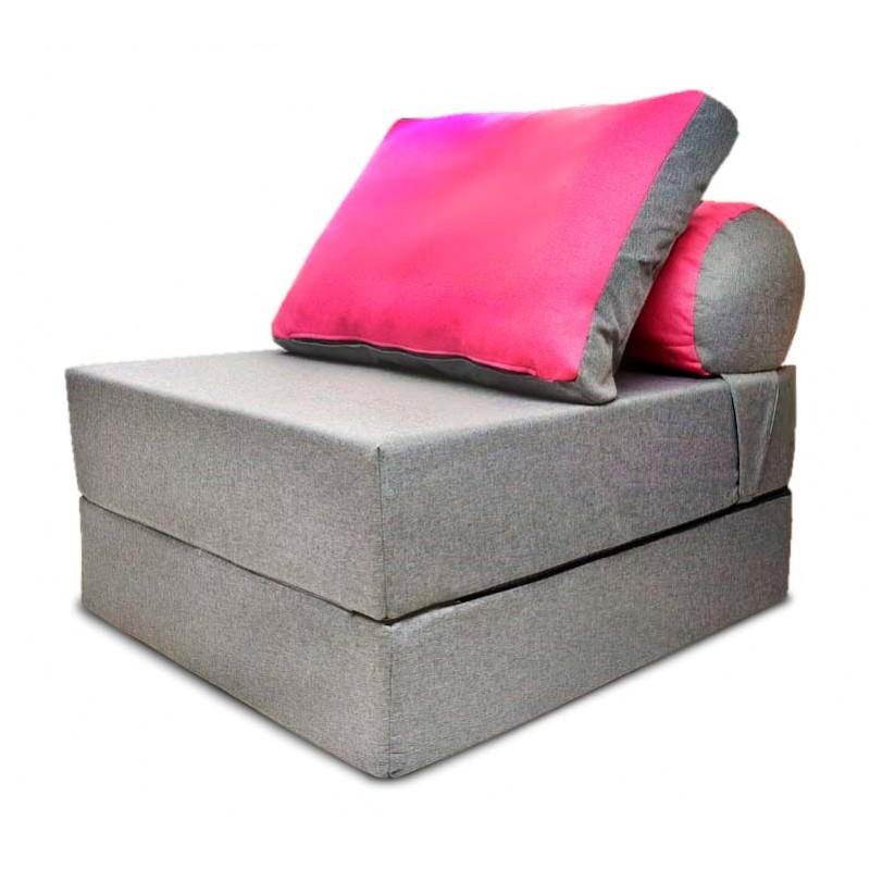 Бескаркасный диван 80х90х40см, цвет серый+розовый, материал Рогожка+Велюр, Sofa Roll , Puffmebel