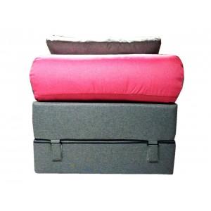 Диван-трансформер Sofa Roll Серо-розовый (Рогожка)