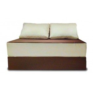 Бескаркасный Диван 140х90х40, цвет коричневый + молочный, материал Рогожка, Sofa Roll Long, Puffmebel