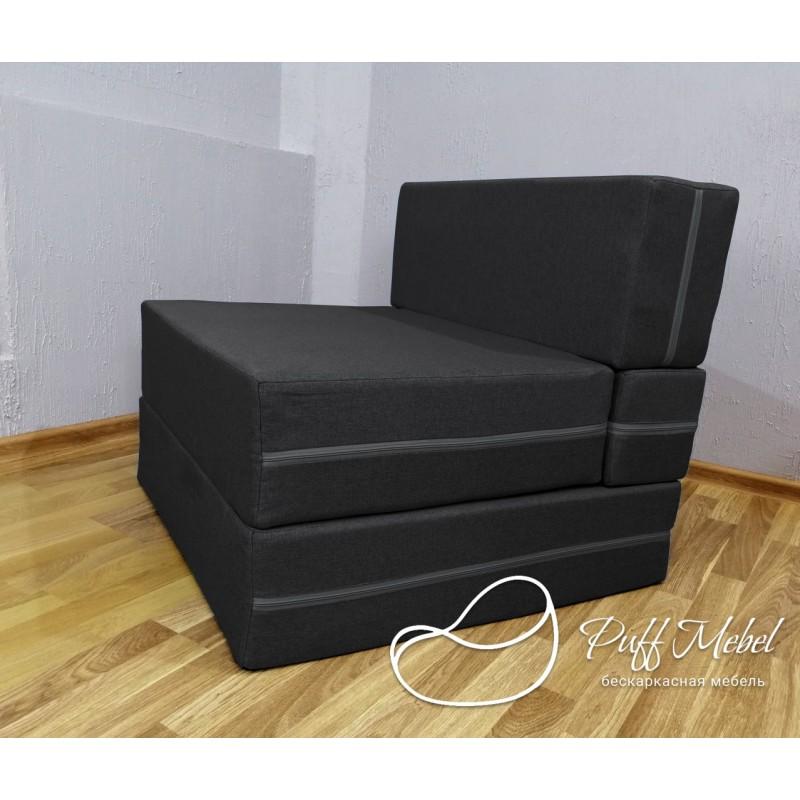 Бескаркасный диван 80х80х40, цвет черный, материал Рогожка, Sofa Fom, Puffmebel