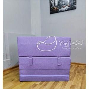 Бескаркасный диван 80х80х40, цвет бело-сиреневый, материал Рогожка, Sofa Fom, Puffmebel