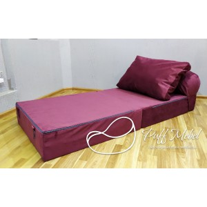 Бескаркасный диван 80х90х40см, цвет бордовый, материал Велюр, Sofa Roll , Puffmebel