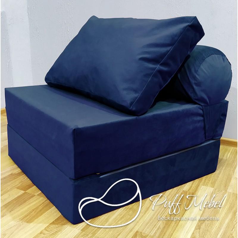 Диван-трансформер Sofa Roll Тёмно-синий велюр