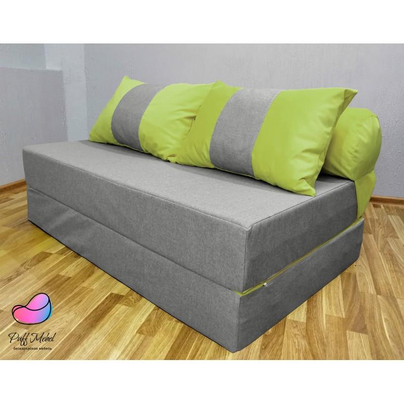 Диван трансформер Sofa Roll Long  Серо-зелёный