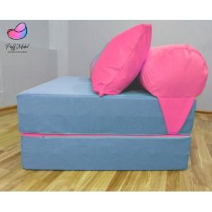 Диван трансформер Sofa Roll Long  Голубо-розовый