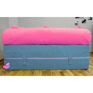 Диван трансформер Sofa Roll Голубо-розовый