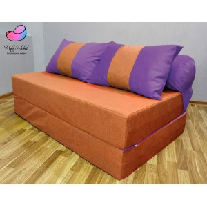 Диван трансформер Sofa Roll Long  Рыже-фиолетовыый