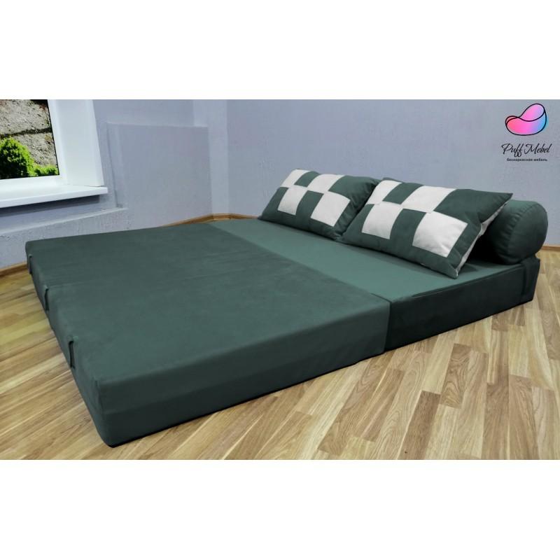 Диван трансформер Sofa Roll Тёмно - Зелёный