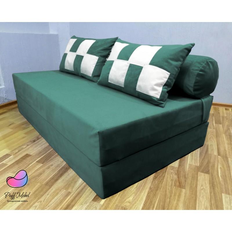 Диван трансформер Sofa Roll Long  Тёмно - Зелёный