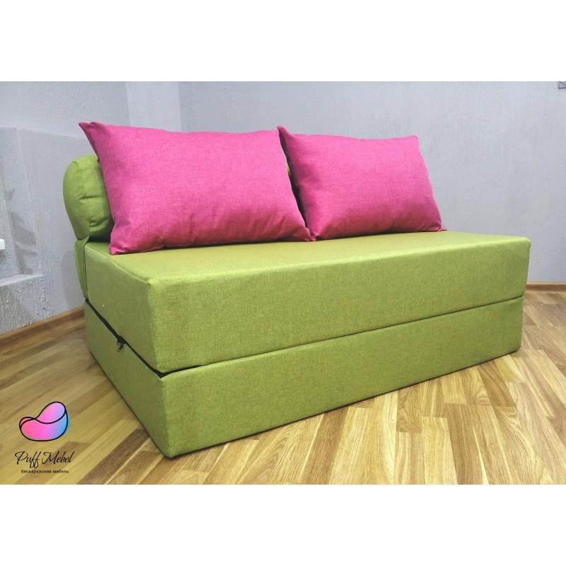 Диван трансформер Sofa Roll Long  Зелёный + розовый