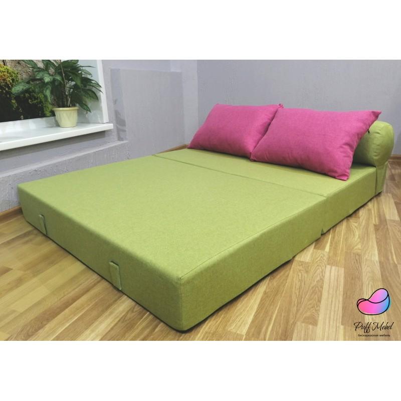 Диван трансформер Sofa Roll Зелёный + розовый