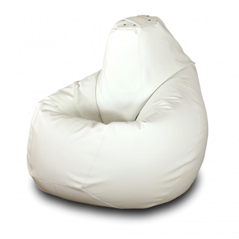 Кресло-мешок Груша Белая кожа ( Экокожа )